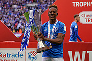 Jamal Lowe of Portsmouth celebrates winning the Checkatrade EFL Trophy during the EFL Trophy Final match between Portsmouth and Sunderland at Wembley Stadium, London, England on 31 March 2019.