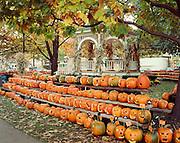 Gazebo and Jack o Lanterns at Central Square, Keene Pumpkin Festival