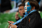 MELBOURNE, VIC - NOVEMBER 09: City fans celebrate as they score the opening goal at the Hyundai A-League Round 4 soccer match between Melbourne City FC and Wellington Phoenix on November 09, 2018 at AAMI Park in Melbourne, Australia. (Photo by Speed Media/Icon Sportswire)