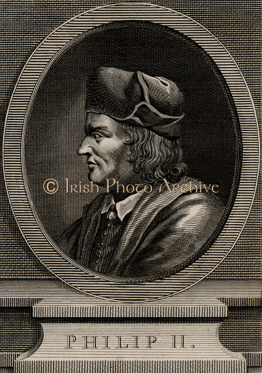 Philip II (1165 -1223) a member of the Capetian dynasty, known as Philip Augustus, king of France from 1180.  Copperplate engraving, 1793.