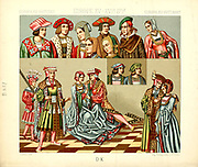 Ancient European fashion and lifestyle, 15th - 16th century from Geschichte des kostums in chronologischer entwicklung (History of the costume in chronological development) by Racinet, A. (Auguste), 1825-1893. and Rosenberg, Adolf, 1850-1906, Volume 3 printed in Berlin in 1888