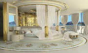 "Inside the Worlds Luxury Yacht  for WOMEN, with Swarovski Crystal chandeliers , gold mosaics ice fountains and a spa all a woman could want for Valentines day... for the rich of course!<br /> <br /> Luxury designer Lidia Bersani has created the first Luxury mega yacht for women in mind.<br /> <br /> The white and gold yacht measuring 262ft, is for women buyers and is designed using crystal, gold fur and flowers, named LA BELLE, which means  ""the beauty""<br /> <br /> the yacht can sleep 12 guests in six luxury cabins, the spa area with hydromassage pool, harman, infrared sauce, snow room and ice fountains, fitness club ,beauty centre , nightclub, cinema and bars.<br /> <br /> ""the Idea is to equip the super yacht with ultra modern stabilizing system and state of the art machinery and equipment"" says Lidia Bersani of Luxury design.<br /> <br /> Each deck has an outside area for sun bathing , and looking out to sea.<br /> A helicopter pad sits on top of the yacht, all the luxury a woman could want...<br /> <br /> Photo shows; Main Interior<br /> ©Luxury design/Exclusivepix Media"