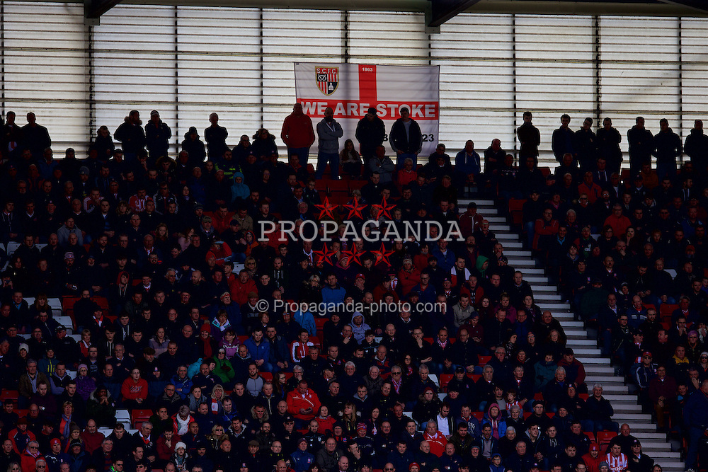 STOKE-ON-TRENT, ENGLAND - Saturday, April 30, 2016: Stoke City supporters with a St. George's Flag during the FA Premier League match against Sunderland at the Britannia Stadium. (Pic by David Rawcliffe/Propaganda)