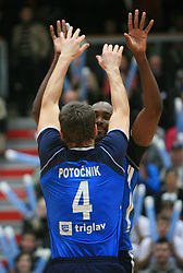 Jernej Potocnik and Tevares Luz Andre at finals of Slovenian volleyball cup between OK ACH Volley and OK Salonit Anhovo Kanal, on December 27, 2008, in Nova Gorica, Slovenia. ACH Volley won 3:2.(Photo by Vid Ponikvar / SportIda).