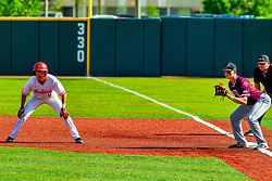 20 May 2019:  Derek Parola takes a lead at first from J.T. Weber and Ump Tim Catton. Missouri Valley Conference Baseball Tournament - Southern Illinois Salukis v Illinois State Redbirds at Duffy Bass Field in Normal IL<br /> <br /> #MVCSPORTS