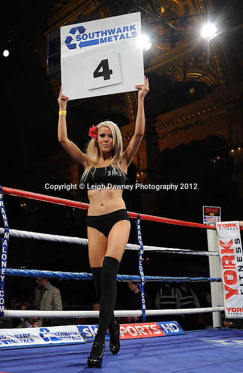 Silks Gentlemans Lounge Ring Card Girls pictured at The Winter Gardens, Blackpool on the 31st March 2012. Frank Maloney and Steve Wood VIP Promotions. © Leigh Dawney Photography 2012.