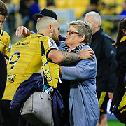 Family greetings after  the super rugby union  game between Hurricanes  and Highlanders, played at Westpac Stadium, Wellington, New Zealand on 24 March 2018.  Hurricanes won 29-12.