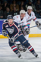KELOWNA, CANADA - JANUARY 22: Jordan Topping #12 of Tri City Americans skates against the Kelowna Rockets on January 22, 2016 at Prospera Place in Kelowna, British Columbia, Canada.  (Photo by Marissa Baecker/Shoot the Breeze)  *** Local Caption *** Jordan Topping;