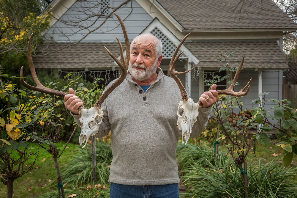 """My son and I hunted these deer this fall...he gave these to me earlier today.  I'm not sure this is the best possible subject for this particular day.""  -Retired teacher Dennis Lang displays his Christmas gift in front of his home on Cedar Street in Calistoga."