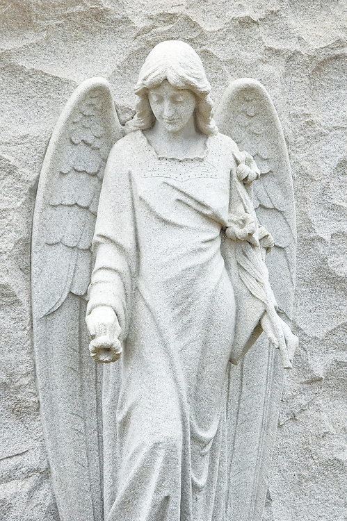 A winged angel holds a lily and offers one, a life-sized granite cemetery statute.