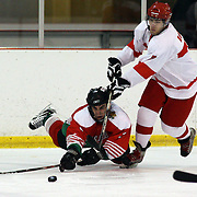 Bogdan Ivanov, Bulgaria, (left) dives for the puck while challenged by Can Borkeci  during the Turkey V Bulgaria match during the 2012 IIHF Ice Hockey World Championships Division 3 held at Dunedin Ice Stadium. Dunedin, Otago, New Zealand. 21st January 2012. Photo Tim Clayton