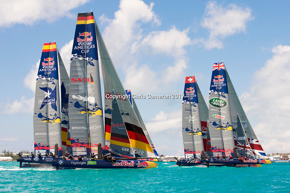 The Great Sound, Bermuda, 20th June 2017, Red Bull Youth America's Cup Finals. Race three leg one.