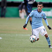 NEW YORK, NEW YORK - April 12: Maximiliano Moralez #10 of New York City FC in action during the New York City FC Vs San Jose Earthquakes regular season MLS game at Yankee Stadium on April 1, 2017 in New York City. (Photo by Tim Clayton/Corbis via Getty Images)
