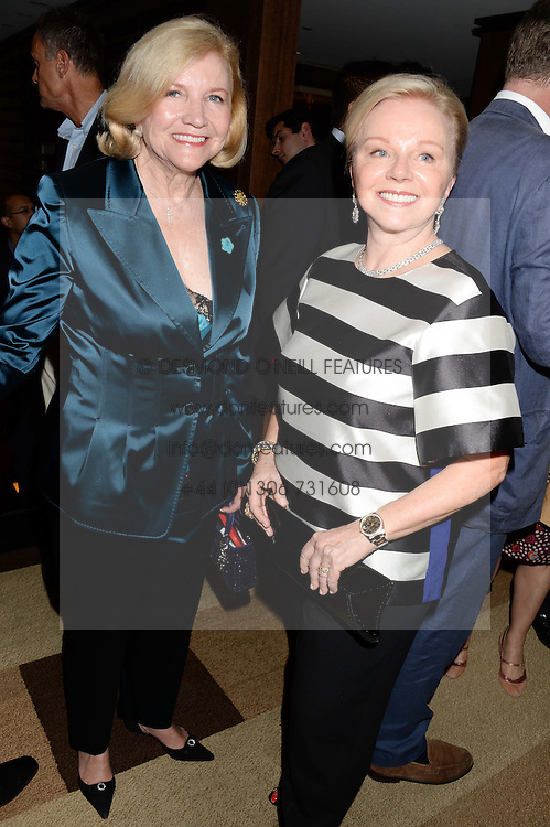 Left to right, BRENDA JOHNSON former USA Ambassador to Jamaica and LIZ NEWMAN at a party to celebrate Ben Goldsmith guest-editing the July/August 2013 edition of Spears Magazine held at 45 Park Lane, London on 19th June 2013.