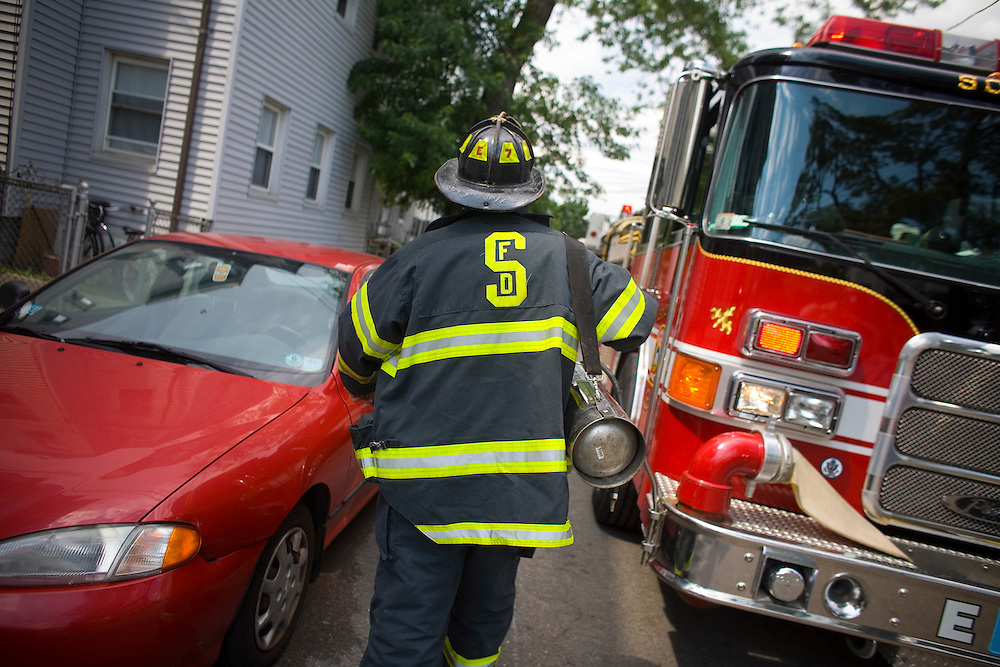 Engine 7 of the Somerville Fire Department works out of the Highland Avenue station and is the oldest working fire house in the city.  On this day, July 4, 2007, it was slow but they responded to a working fire at Cambridge line box 625 for 106-110 Oxford Street..Photo Justin Ide, www.justinide.com