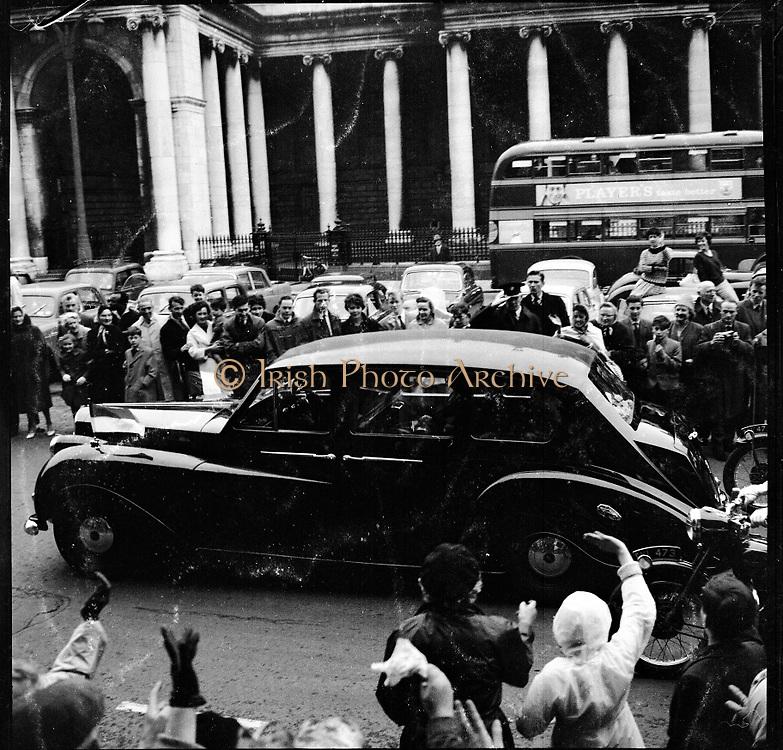 Royal Visit to Ireland by Princess Grace and Prince Rainier of Monaco. Prince Rainier en route to Áras an Uachtarain in a Rolls Royce with President Eamon De Valera. Princess Grace rode in an Austin Princess with Frank Aiken TD and Sinéad Bean De Valera..10.06.1961