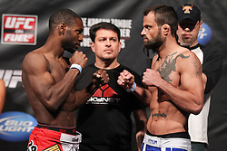 Fairfax, VA - May 14, 2012: Yves Jabouin (left) and Jeff Hougland (right) during the UFC on FUEL TV 3 weigh-in at the Patriot Center in Fairfax, Virginia.