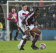 Hearts' Michael Ngoo  and Dundee's Lewis Toshney  - Hearts v Dundee in the Clydesdale Bank, Scottish Premier League at Tynecastle.. - © David Young - www.davidyoungphoto.co.uk - email: davidyoungphoto@gmail.com