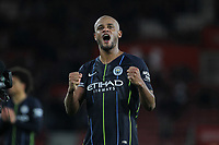 Football - 2018 / 2019 Premier League - Southampton vs. Manchester City<br /> <br /> Captain Vincent Kompany of Manchester City cheers on the traveling city fans at St Mary's Stadium Southampton<br /> <br /> COLORSPORT/SHAUN BOGGUST