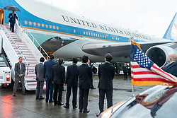 June 27, 2019 - Osaka, Japan - President DONALD J. TRUMP disembarks Air Force One, Thursday upon his arrival to Osaka International Airport to attend the G20 Summit. Trump is seeking to resolve an escalating trade fight with China and is expected to hold trade talks with the Chinese president Saturday morning.  (Credit Image: ? Shealah Craighead/White House/ZUMA Wire)