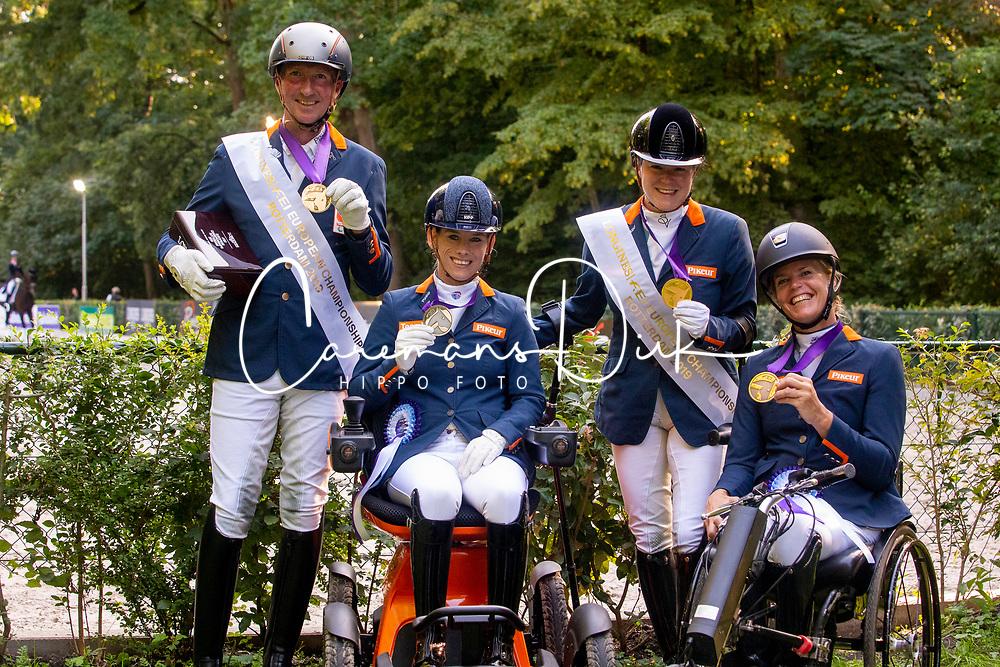 Nederlandse medaille winnars, Hosmar Frank, Van der Horst Rixt, Voets Sanne, Den Dulk Nicole<br /> European Championship Para Dressage<br /> Rotterdam 2019<br /> © Hippo Foto - Dirk Caremans