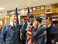 Anamosa Veterans Association Color Guard members, Jim Caswell, Alfred DeRosia, Bob Crull, Nick Nassif, and Bill Cunningham, (from left) all of Anamosa talk outside the gymnasium before presenting the colors for the 14th Annual Veterans Day Assembly at Anamosa High School in Anamosa on Tuesday, November 11, 2008.  (Stephen Mally/Freelance)