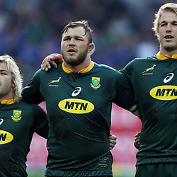 Faf de Klerk with Duane Vermeulen and Pieter-Steph du Toit of South Africa during the 2018 Castle Lager Incoming Series 3rd Test match between South Africa and England at Newlands Rugby Stadium,Cape Town,South Africa. 23,06,2018 Photo by (Steve Haag JMP)