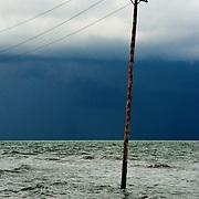 Sea flooding. Ebro Mouth.Tarragona,Catalonia,Spain.