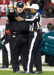 Philadelphia Eagles head coach Andy Reid talks with an official during the Washington game.  The Washington Redskins defeated the Philadelphia Eagles 10-3 in an NFL football game held at Fedex Field in Landover, Maryland on Sunday, December 21, 2008.