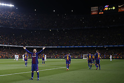 May 6, 2018 - Barcelona, Catalonia, Spain - May 6, 2018 - Camp Nou, Barcelona, Spain - LaLiga Santander- FC Barcelona v Real Madrid CF; Leo Messi of FC Barcelona celebrates the 2-1 after kicks the ball. (Credit Image: © Marc Dominguez via ZUMA Wire)