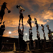 Sept. 11, 2010 - Lexington, Kentucky, USA -  University of Kentucky cheerleaders were sillhouetted against a colorful sunset as the University of Kentucky played Western Kentucky University at Commonwealth Stadium. Kentucky won the game, 63-28. (Credit image: © David Stephenson/ZUMA Press)
