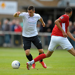 TELFORD COPYRIGHT MIKE SHERIDAN Aaron Williams of Telford during the National League North fixture between Brackley Town and AFC Telford United at St James's Park on Saturday, September 7, 2019<br /> <br /> Picture credit: Mike Sheridan<br /> <br /> MS201920-016