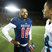 Tajh Boyd #10 of the Boston Brawlers is seen on the field following the first ever Boston Brawlers home game at Harvard Stadium on October 24, 2014 in Boston, Massachusetts. (Photo by Elan Kawesch)
