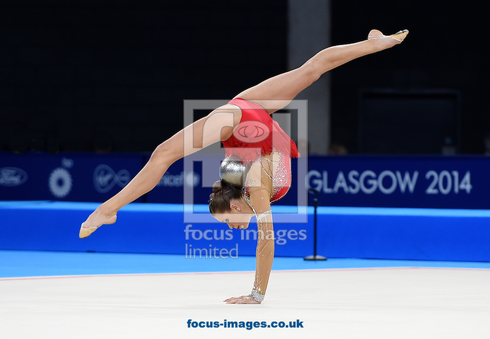 Francesca Jones WAL during her Silver medal winning performance in the Rhythmic Gymnastics ball final at SSE Hydro, Glasgow<br /> Picture by Alan Stanford/Focus Images Ltd +44 7915 056117<br /> 26/07/2014