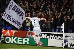 Bolton, England - Wednesday, January 31, 2007: Bolton Wanderers' Henrik Pedersen celebrates scoring the opening goal against Charlton Athletic during the Premiership match at the Reebok Stadium. (Pic by David Rawcliffe/Propaganda)