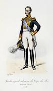 Oifficer of the Royal  Footguards, 1817-1830.  From 'Histoire de la maison militaire du Roi de 1814 a 1830' by Eugene Titeux, Paris, 1890.