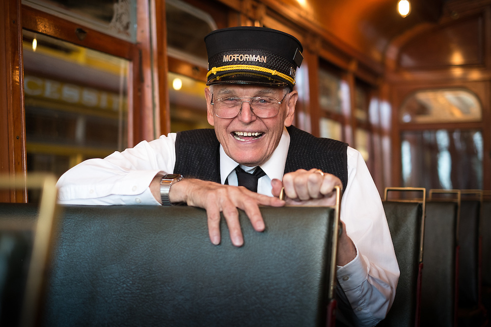 Walt Vielbaum on the San Jose Peninsular Railway Streetcar 52 at the Western Railway Museum | April 23, 2014