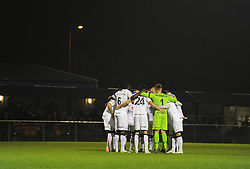 Weston Super Mare team huddle in prior to kick off. - Photo mandatory by-line: Alex James/JMP - Mobile: 07966 386802 - 18/11/2014 - SPORT - Football - Weston-super-Mare - Woodspring Stadium - Weston-super-Mare v Doncaster - FA Cup - Round One