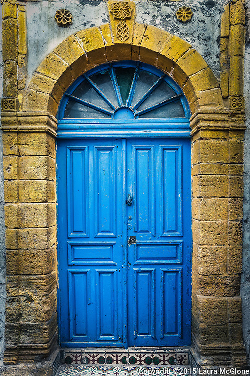 Blue Doorway with Yellow Stone Surround, Morocco