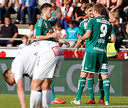 31.05.2015, Stadion Wolfsberg, Wolfsberg, AUT, 1. FBL, RZ Pellets WAC vs SK Rapid Wien, 35. Runde, im Bild v.l. den Jubel von Stefan Stangl (SK Rapid Wien), Philipp Schobesberger (SK Rapid Wien) und Robert Beric (SK Rapid Wien) // during the Austrian Football Bundesliga 35th Round match between RZ Pellets WAC and SK Rapid Vienna at the Stadium Wolfsberg in Wolfsberg Austria on 2015/05/31, EXPA Pictures © 2015, PhotoCredit: EXPA/ Wolfgang Jannach
