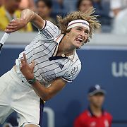 2017 U.S. Open Tennis Tournament - DAY THREE.  Alexander Zverev of Germany in action against Borna Coricof Croatia during the Men's Singles round two match at the US Open Tennis Tournament at the USTA Billie Jean King National Tennis Center on August 30, 2017 in Flushing, Queens, New York City.  (Photo by Tim Clayton/Corbis via Getty Images)