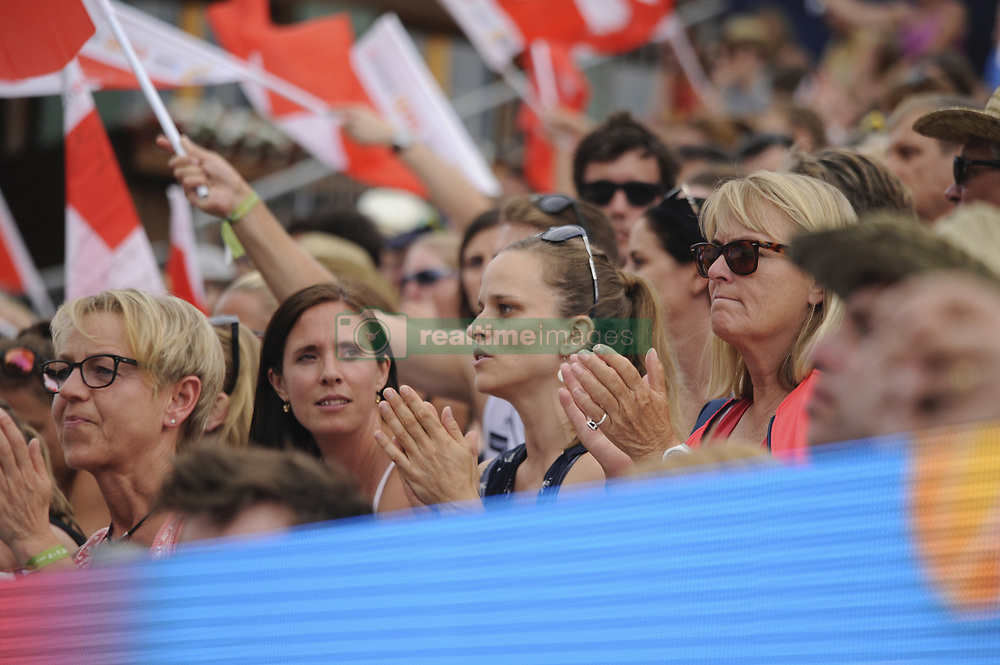 July 7, 2017 - Gstaad, BE, Schweiz - Gstaad, 07.07.2017, Beachvolleyball - World Tour Gstaad 2017, Isabelle Former, die ehemalige Partnerin von Anouk Verge-Depre (SUI, 1) und Nadine Zumkehr, die ehemalige Partnerin von Joana Heidrich (SUI, 2) als Zuschauerinnen beim Viertelfinale gegen (BRA) (Credit Image: © Andreas Eisenring/EQ Images via ZUMA Press)