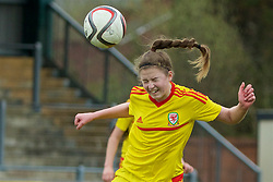 NEWPORT, WALES - Friday, April 1, 2016: Wales' Megan Balloch in action against England during Day 1 of the Bob Docherty International Tournament 2016 at Dragon Park. (Pic by David Rawcliffe/Propaganda)