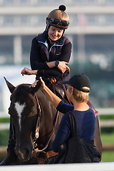 Julie Stormfelt, up, talks with Tracy Attfield from Delray Beach, Florida, before Derby 142 hopefuls were on the track for training, Sunday, May 01, 2016 at Churchill Downs in Louisville.