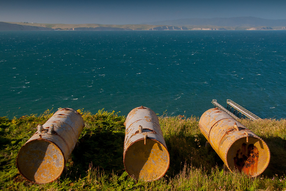 Rusty Drums Around the Historic Point Reyes Lifeboat Station, Pt. Reyes, Marin County, California, US