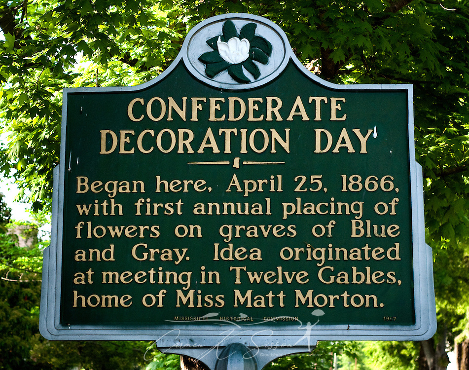 A historic marker tells the origin of Confederate Decoration Day in Columbus, Miss. April 16, 2010. The marker is located in front of Twelve Gables, which  was among nearly two dozen homes on tour during Columbus' annual Spring Pilgrimage. (Photo by Carmen K. Sisson/Cloudybright)