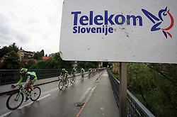 Riders on the bridge in Novo mesto in last 4th stage of the 15th Tour de Slovenie from Celje to Novo mesto (157 km), on June 14,2008, Slovenia. (Photo by Vid Ponikvar / Sportal Images)/ Sportida)