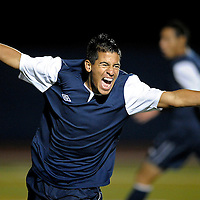 Yuba College's Gabriel Vasquez celebrates scoring the go-ahead goal in the second half of a game against Feather River College in Linda on Tuesday, September 18, 2012. (Nate Chute/Appeal-Democrat)