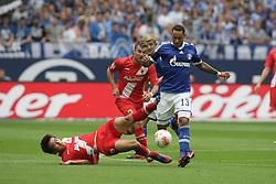 01.09.2012, BayArena, Leverkusen, GER, 1. FBL, Bayer 04 Leverkusen vs FC Augsburg, 2. Runde, im Bild v.l. Ja-Cheol Koo (FC Augsburg), Daniel Baier (FC Augsburg), Lewis Holtby (FC Schalke 04), Jermaine Jones (FC Schalke 04), Aktion // during the German Bundesliga 2nd round match between Bayer 04 Leverkusen and FC Augsburg at the BayArena, Leverkusen, Germany on 2012/09/01. EXPA Pictures © 2012, PhotoCredit: EXPA/ Eibner/ Oliver Vogler..***** ATTENTION - OUT OF GER *****