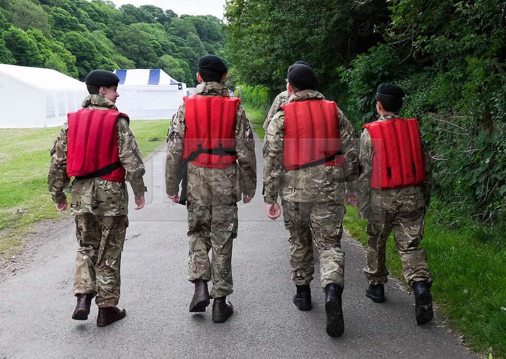 &copy; Licensed to London News Pictures.13/06/15<br /> Durham, England<br /> <br /> Army cadets wearing life jackets make their way to the control point at the start of the 182nd Durham Regatta rowing event held on the River Wear. The origins of the regatta date back  to commemorations marking victory at the Battle of Waterloo in 1815. This is the second oldest event of this type in the country and attracts over 2000 competitors from across the country.<br /> <br /> Photo credit : Ian Forsyth/LNP